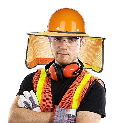 2 Pack Hard Hat Sun Neck Shield Full Brim Sunshade for Hard Hats- High Visibility, Reflective, Full Brim Mesh Sun Shade Protector (Hard Hat Not Included) (Orange) by Erlvery DaMain (Image #1)