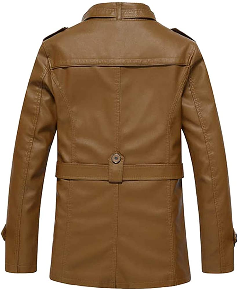 TAGGMY Jackets for Men Winter Warm Fashion Plus Size Overcoat Casual Pocket Button Thermal Leather Top Coat Outwear