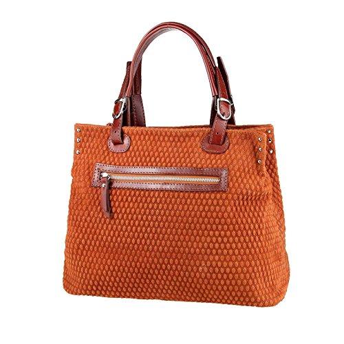 Made in Italy Damen Leder Shopper Tasche Handtasche Henkeltasche Ledertasche Beuteltasche Schultertasche CrossOver Bowlingtasche Hobo-Bag Cognac(Henkel-Braun)