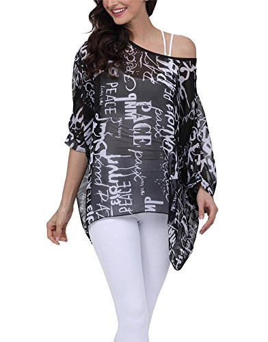 Nicetage Lady Bohemian Floral Plus Size Semi Sheer Loose Tops 4281 ()