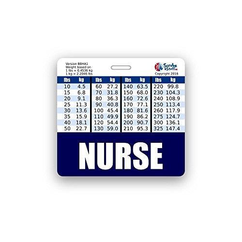 Nurse Badge (NURSE Badge Buddy Horizontal w/ Height & Weight Conversion Charts (Navy Blue))
