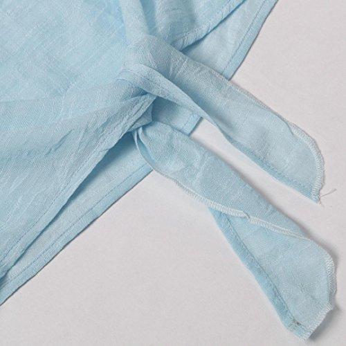 Tops Chemisier Clair Chemise Occasionnels Cou Manches Dames t Longues LaChe Bleu VJGOAL O Bandage Femmes Respirant Automne Mode AUEqFnT7
