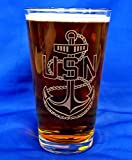Custom Etched Navy CPO E-7 Emblem on 16 Oz Pint Glasses Set of 4 Review