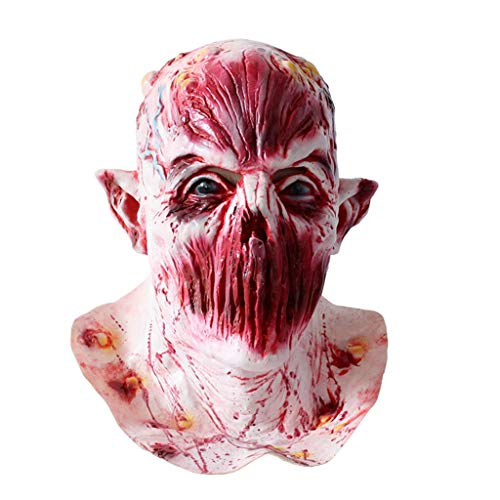 JGBHPNYX Mask Bloody Mysterious Horror Mask Biohazard Halloween Zombie Zombie Devil Latex Headgear]()