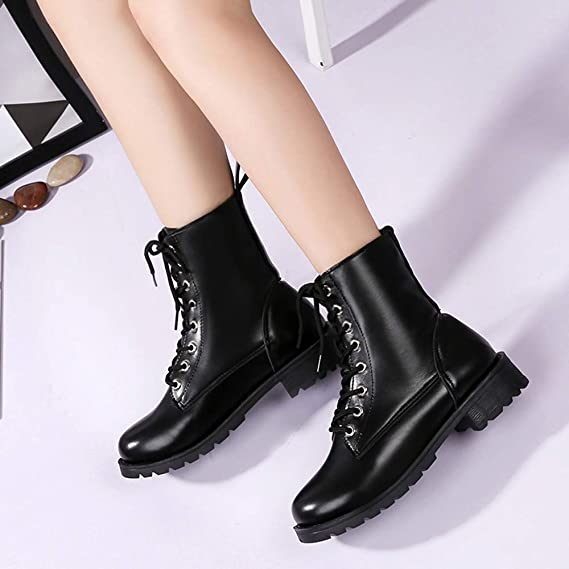 Amazon.com: Faionny Women Boots Non-Slip Ankle Boots Christmas Shoes Faux Leather Boots Lace-Up Thick Boots Winter Warm Snow Boots: Clothing