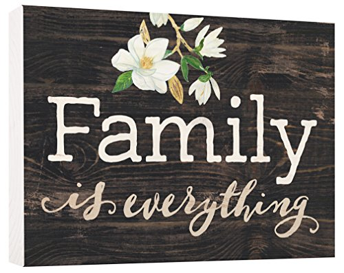 P. GRAHAM DUNN Family Everything Magnolia Black 5.5 x 7.5 Solid Wood Barnhouse Block Sign