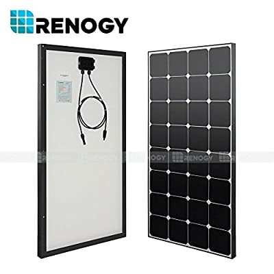 Renogy 100W Watts Black Solar Panel Mono 100W Watt 12V Volt for RV Boat Battery