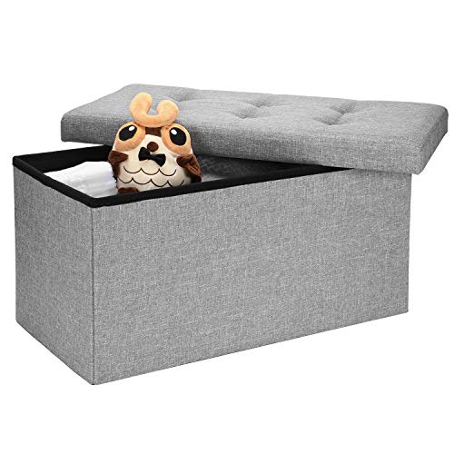 SortWiseTM Folding Storage Ottoman Bench, Storage Chest/Footrest/Padded Seat, Poly Linen Storage Organizer (Grey, 30