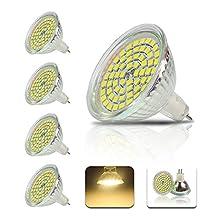Wanunion 4X MR16 Lighting 60 SMD 2835 LED GU5.3 LED Lighting Warm White Light 2800-3000k 4W Lamp Lighting 450LM Glass Reflector LED Bulbs 120 Degree Beam Angle AC/DC12V Undimmable LED Bulbs