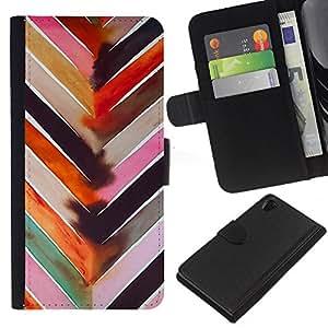 KLONGSHOP // Tirón de la caja Cartera de cuero con ranuras para tarjetas - Patrón de la acuarela en colores pastel Líneas - Sony Xperia Z2 D6502 //