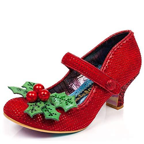 Irregular Choice Suede Heels - Irregular Choice Little Holly Christmas Mid Heel Pump Red 36