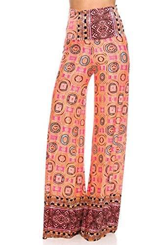 [2LUV Women's Mix Print High Waisted Wide Leg Palazzo Pants Peach L] (70s Ladies Fashion)
