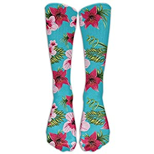 Hawaii Red Flowers Floral Blue Stockings Long Tube Socks,Great Quality Sports Soccer Football Socks Thanksgiving Christmas Gifts For Women Men Teens as pictureOne Size