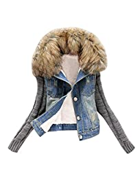 HGWXX7 Women's Casual Knit Sleeve Fur Collar Jeans Button with Pocket Jacket Coats Denim Tops