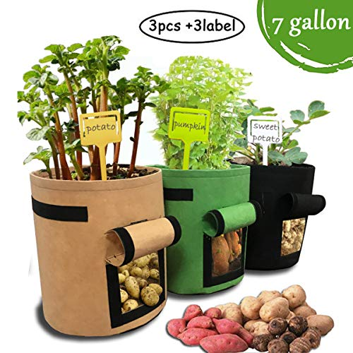 Joyhill 3 Pack Potato Grow Bag-7 Gallon Velcro Window Vegetable Grow Bags with Plant Label, Double Layer Premium Breathable Nonwoven Cloth(Brown+Green+Black) ()