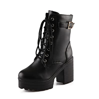 Amazon.com | Lucksender Womens Lace Up Platform Combat Chunky Heel ...