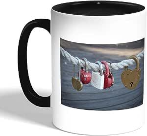 كوب سيراميك للقهوة بتصميم اقفال مغلقة ، اسود