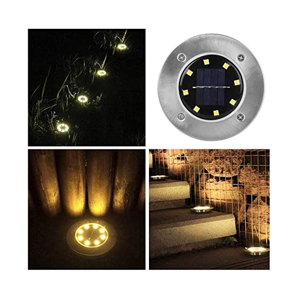 Wilktop Lampade Solari per Giardino Lampada Solare Lampada da Terra Bianco Caldo con Luce a 8 LED LED Esterno IP65 8er Nella Luce Solare Esterna Impostata 3 spesavip