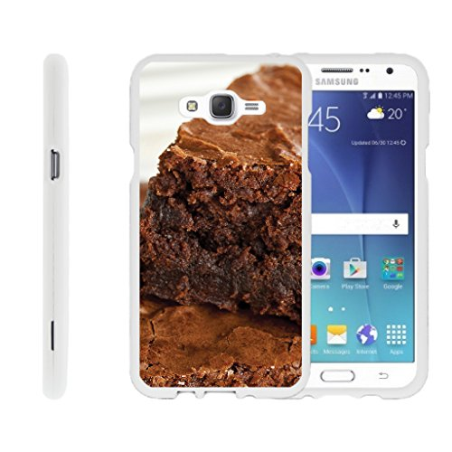 TurtleArmor | Compatible for Samsung Galaxy J7 Case (2015) | J700 [Slim Duo] Hard Compact Light Rubberized 2 Piece Cover Shell on White Food Image - Baked Brownies - White Brownie