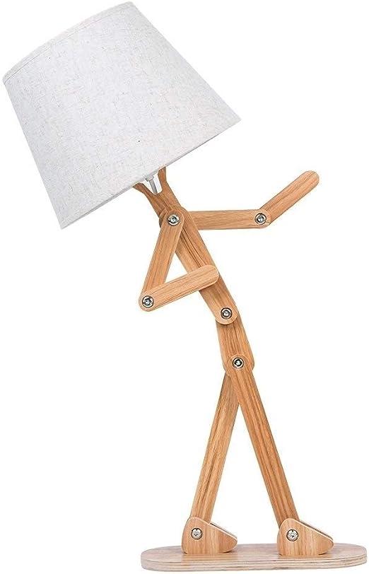 HWZQHJY Único Hombre Lámpara de escritorio de madera con lámpara ...
