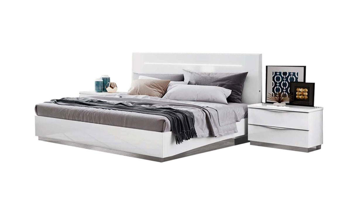 Amazoncom Onda Legno Modern Queen Bedroom Set With Led Lights In