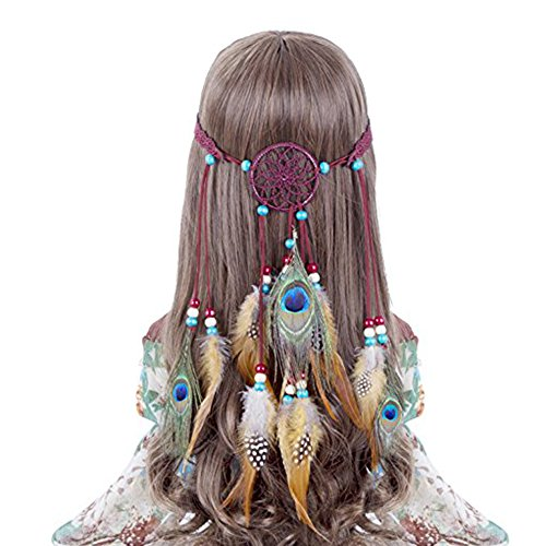 Hippie Headband Feather Dreamcatcher Headdress - AWAYTR New Fashion Boho Headwear Native American Headpiece Hippie Clothes Peacock Feather Hair Accessories