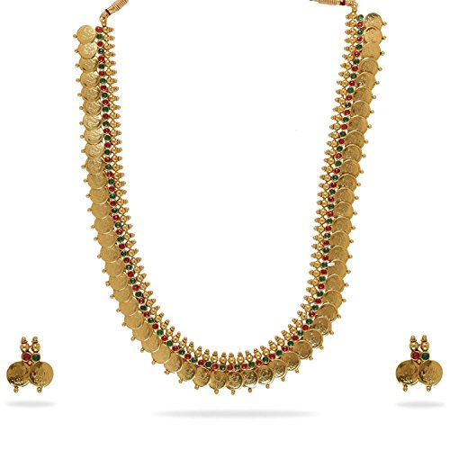 YouBella Jewellery Gold Plated Traditional Indian Temple Coin Necklace Set with Earrings for Girls and Women (Red-Green)