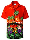 URBANCREWS Mens Hipster Hip Hop Aloha Short Sleeve Hawaiian Shirts Orange, XL