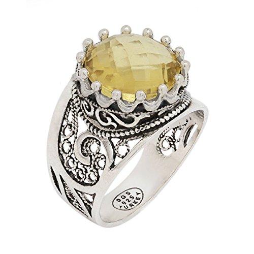 Amethyst Jewelry Box Citrine (925 Sterling Silver Purple Amethyst Yellow Citrine Blue Topaz Round Filigree Paisley Ring (Size 5 - 12) (11, citrine))