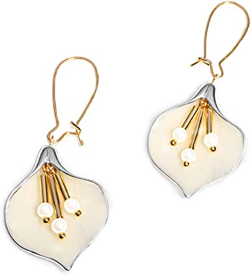 Gold Plated Cubic Zironia Crystal Lily Flower Dangle Earrings