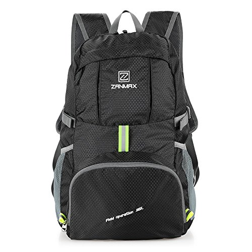 Z ZANMAX 35L Packable Backpack, Lightweight Hiking Daypack, Water Resistant Travel for Men Women Hiking Camping Traveling(Black)