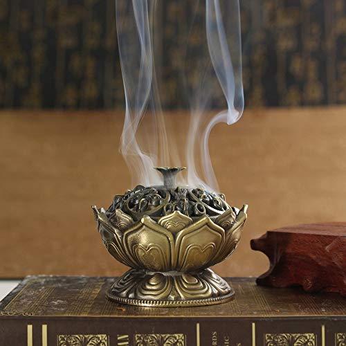VT BigHome Buddha Alloy Incense Burner Lotus Flower Incense Holder Handmade Censer for Buddhist Home Office Decoration