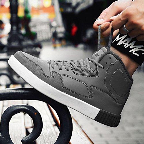 LFEU Homme Chaussure de Basket Sport Running Hiver Skateboard Vintage en Velours Chaud Confortable 39-44 Gris rvqxrHF