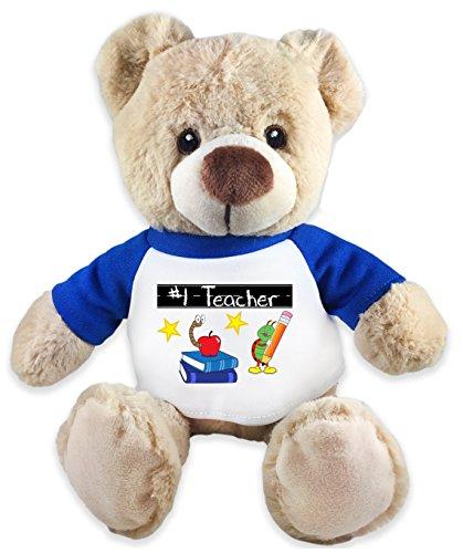 #1 Teacher Teddy Bear Bookworm Plush Message T-Shirt 8 - Hut The Bear