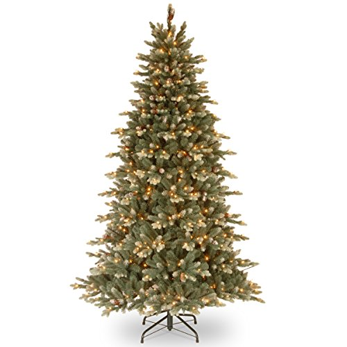 Ready Lit Christmas Trees - National Tree 7.5 Foot Copenhagen Blue Spruce Tree with 40 Flocked Cones and 600 Ready-Lit Clear Lights with PowerConnect System On/Off Switch (PECG3-308EP-75X)