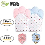 Lifefulfun Baby Teething Mitten Infant Teether Toy Gloves Self-Soothing Pain Relief Mitt Gift for Baby shower for 3-12 Months Baby BPA Free (2 Pack Mittens+ 2 Bibs, Pink and Blue)