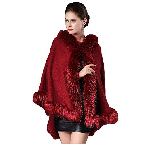 Eleganti Casual Monocromo Classiche Unique Donne Rot Cardigan Cappotto Mantella Sintetica Donna Collo In Cappuccio Poncho Moda Invernali Pelliccia Con Autunno wvxqpO87