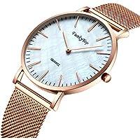 FunkyTop Women Casual Stainless Steel Mesh Watch Quartz Analog Fashion Waterproof Ultra Slim Watch (Rose gold)