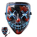 MSDADA Top 100 DJs Music Festival Mask,Halloween Scary Mask Cosplay, Led Costume Mask EL Wire Light up Mask for Halloween Chritmas Festival Parties