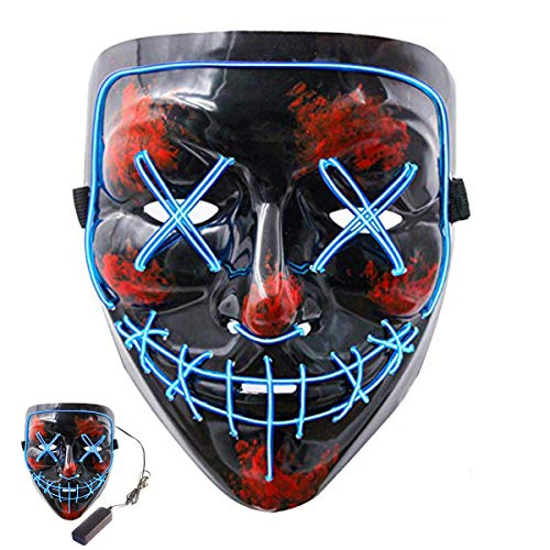 MSDADA Top 100 DJs Music Festival Mask,Halloween Scary Mask Cosplay, Led Costume Mask EL Wire Light up Mask for Halloween Chritmas Festival Parties ()