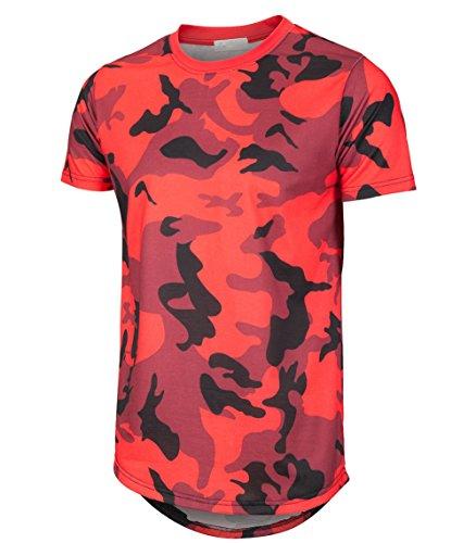 Mens Hipster Hip Hop Elong Round Hemline Crewneck Camouflage T-Shirt (Red, Large)