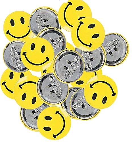 Mini Metal Smiley Smile Face Button Pins ( Pack of 48 pcs ) (1-Pack of 48) - Face Mini Button