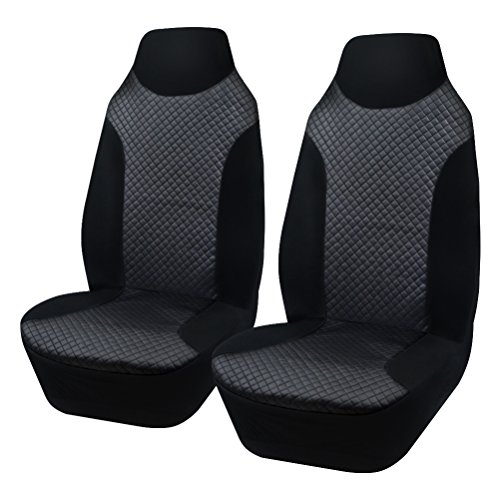 AULLY PARK Universal Fit Leatherette Bucket Seat Covers, Black, Set of ()