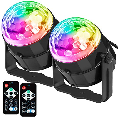 ([2-Pack]DJ Lights Sound Activated Party Lights Sound Activated Disco Ball Strobe Light 7 Lighting Color Disco Lights with Remote Control for Bar Club Party DJ Karaoke Wedding Show and)