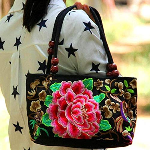 Embroidered Handbags Vintage Flower Embroidery Bag Colorful Chinese Purses and Handbags Ethnic Evening Tote Bag for Women Girls (One Flower)