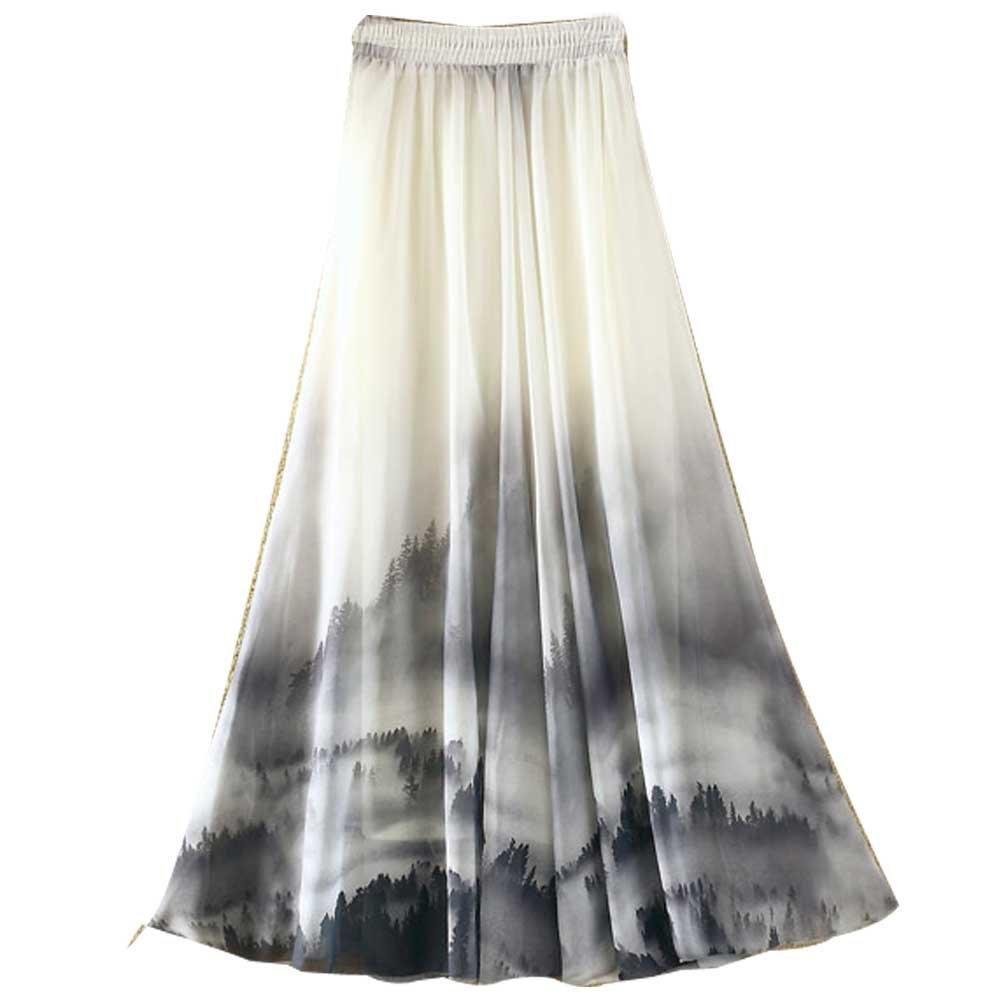 Ashir Aley Summer Floral Flowy Chiffon Long Maxi Skirt (Grey) by Ashir Aley (Image #2)
