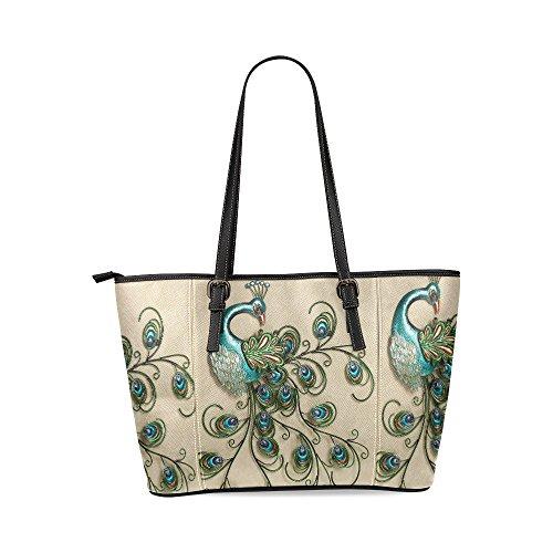 (InterestPrint Custom Peacock Feather Leather Tote Bag/Handbag/Shoulder Bag for Women)