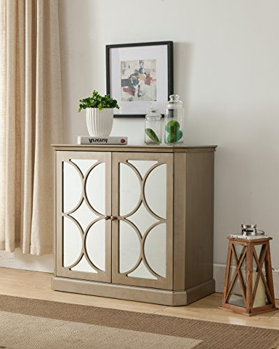 Pilaster Accents (Gold Wood Accent Entryway Sofa Display Table With Mirrored Storage Cabinet Doors)