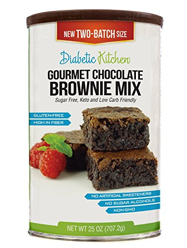 Diabetic Kitchen Gourmet Chocolate Brownie Mix Makes The Moistest, Fudgiest Brownies Ever Gluten-Free, High-Fiber, Low-Carb, No Artificial Sweeteners or Sugar Alcohols (Two-Batch), 25 (Chocolate Sweetener)