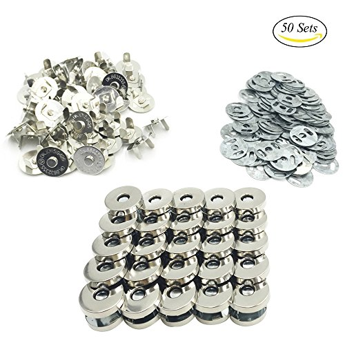 Best Price! Mmei 50 Sets 18mm Silver Tone Magnetic Buttons Snap Clasps for handbag Purses Bags Cloth...